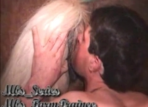 Fellow is performing oral sex to this tight wet horse pussy